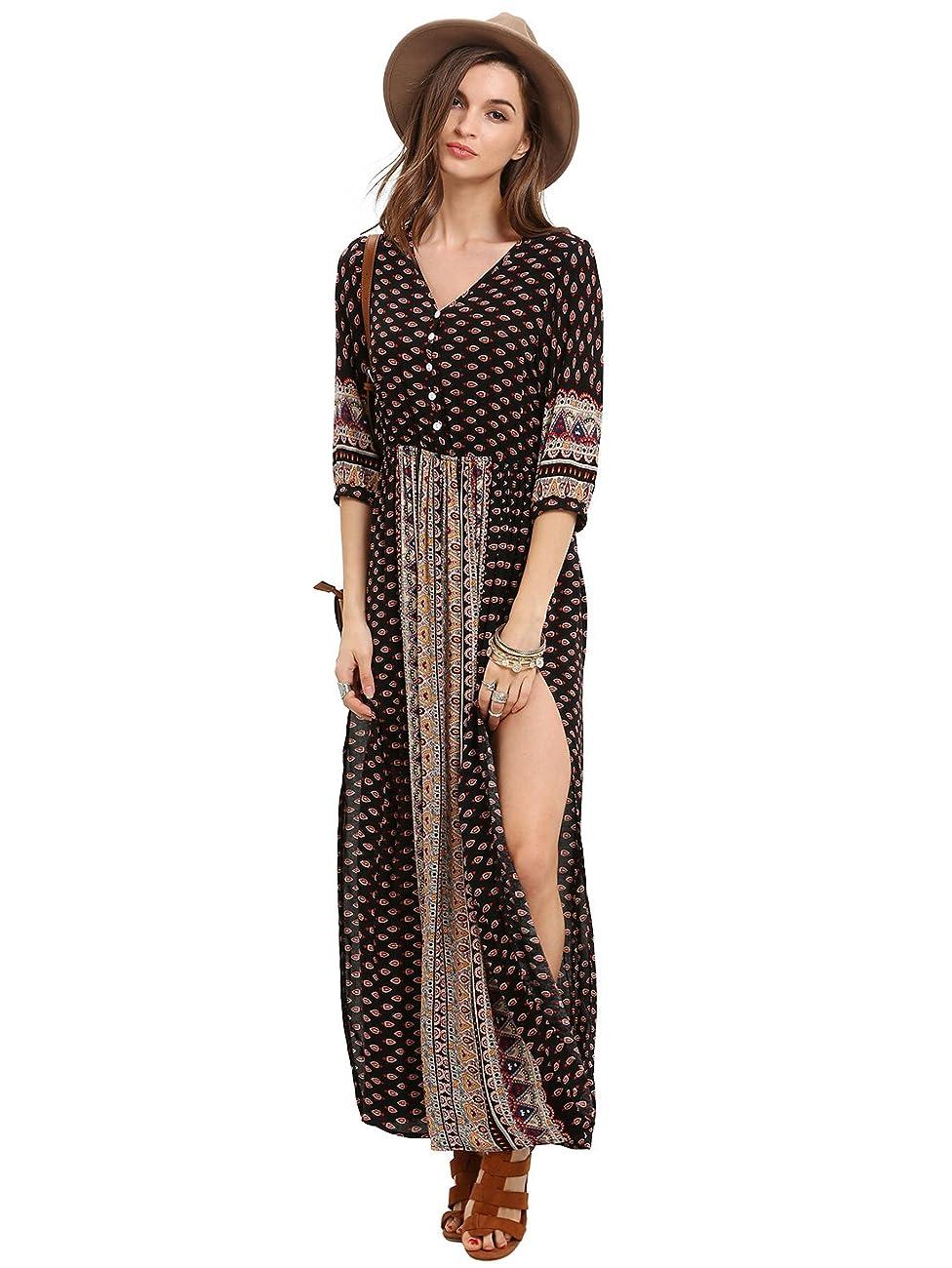 ROMWE Women's Summer Casual Half Sleeve Vintage Print Split Maxi Dress 1