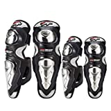 Runspeed Adult Stainless Steel Motocross Elbow Knee Shin Guard Pads Breathable Adjustable Knee Cap Pads Protector Armor Set for Men Motorcycle Cycling Racing, 4Pcs (Black-P19) (Color: Black-P19)