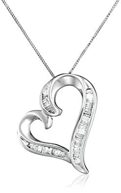 10k White Gold and Diamond Heart Pendant Necklace (1/4 cttw), 18""