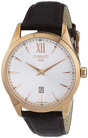 Cerruti - CRA066C213A - Montre Homme - Quartz Analogique - Bracelet Cuir  Marron  Montres 6f5bf0fd544