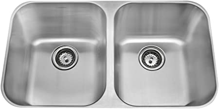 Amerisink AS101 18 Gauge Undermount Equal Bowl Sink, Stainless Steel