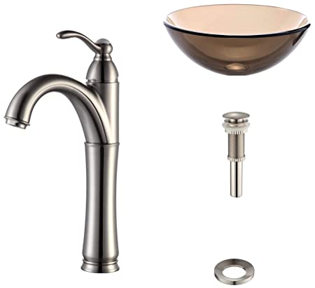 "Kraus C-GV-103-14-12mm-1005SN Clear Brown 14"" Glass Vessel Sink and Riviera Faucet Satin Nickel"