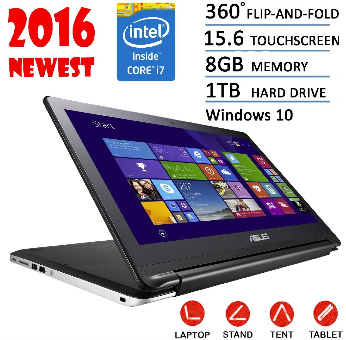 Asus 15.6 Flagship 2016 Edition Transformer Flip 2-in-1 Touchscreen Tablet Laptop , Intel Core i7-5500U 2.4GHZ 8G 1T HDD HDMI Bluetooth Windows 10