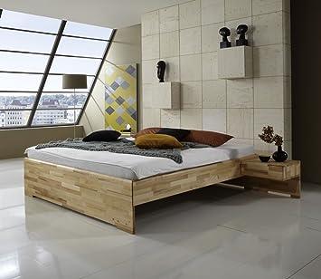 Dreams4Home Massivholzbett 'Marseille', Bett, Massivholz, Kernbuche, natur, 140, 160, 180, 200x200 cm, Doppelbett, Liegefläche:180x200 cm;Nachtkonsole:ohne Nachtkonsolen