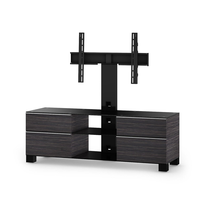 Sonorous MD 8240-B-HBLK-AMZ Fernseher-Möbel mit Schwarzglas (Aluminium Hochglanz, Korpus Holzdekor) schwarz
