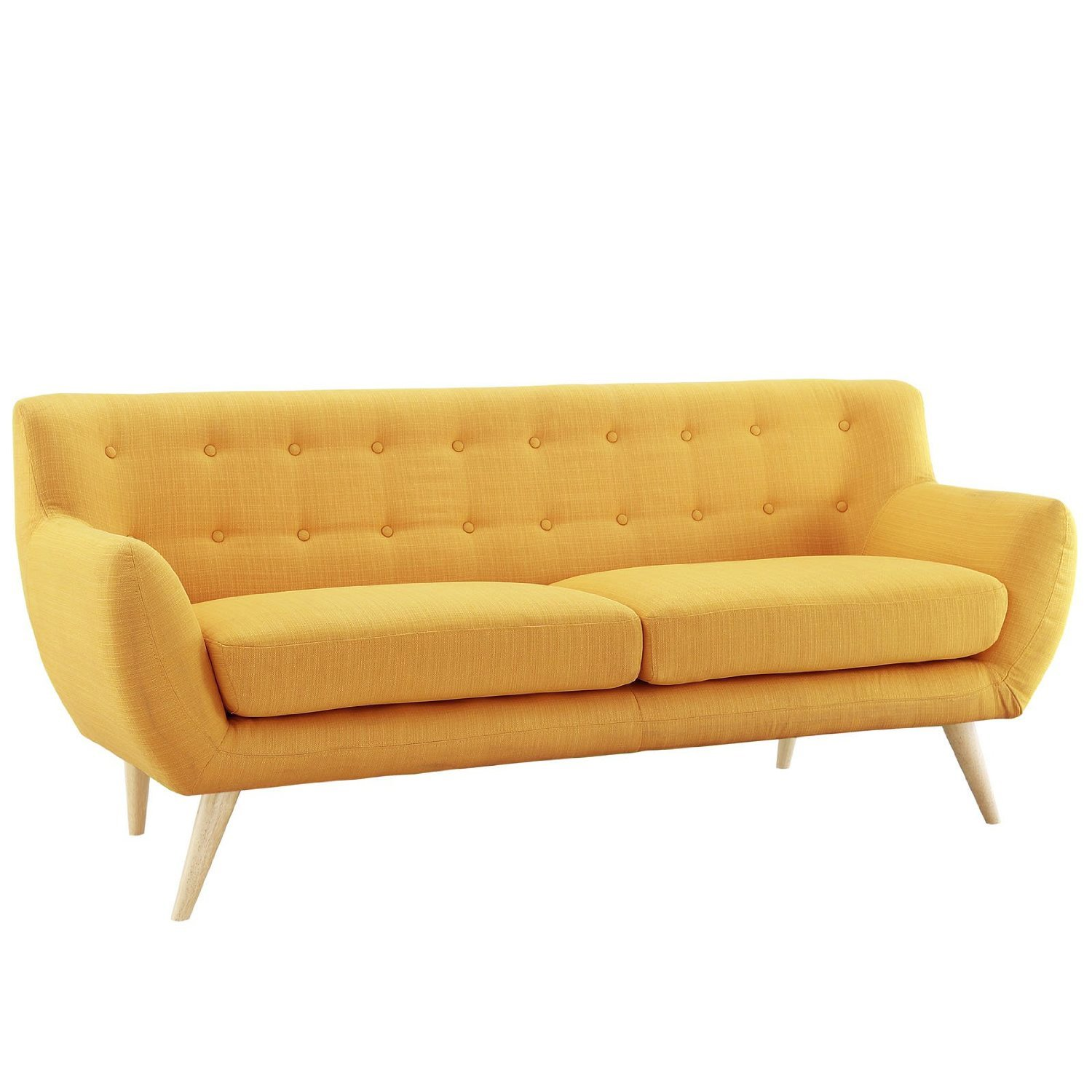 Mid Century Modern Style Sofa /Love Seat Red - Grey - Yellow - Blue - 2 Seat - 3 Seat (Yellow - 2 Seater)
