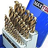 MaxTool 29 Piece Twist Jobber Length Drill Bit Set; 5% Cobalt High Speed Steel HSS M35; 135° Split Point Fully-Ground; JBS35G10R029