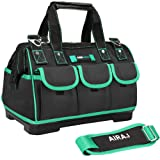 AIRAJ 18-in Tool Tote Bag with Strap,Suitable for Electrician, Woodworking Waterproof, Large Capacity, Plastic Bottom Electrician Bags (18inch) (Color: Black,Green, Tamaño: Large)