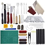 Practical Leather Tools MIUSIE 60 PCS Complete Craft Sewing Kit for Beginner/Professional-Leather Crafting Kit for Bookbinding /Sewing/Leather Craft DIY/Leather Working/Leather Making (Color: 60PCS Leather Kit)