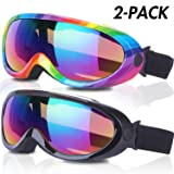 Rngeo Ski Goggles, Pack of 2, Snowboard Goggles for Kids, Boys & Girls, Youth, Men & Women, with UV 400 Protection, Wind Resistance, Anti-Glare Lenses, New Edition (Color: Black Multicolor/Rainbow Multicolor)