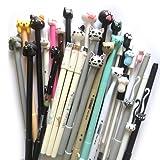 DzdzCrafts 12-Packs Cats Rollerball Gel Pens Black Ink Pens 0.35mm 0.38mm 0.5mm Bulk for Kids Students (Color: Cat (12 Pens))