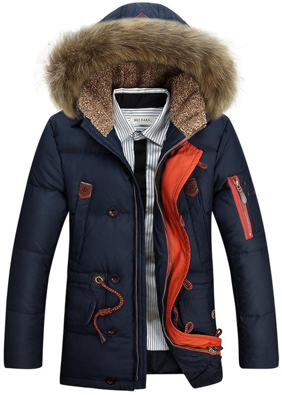 BININBOX® Herren Fashion Daunenmantel Daunenjacke Parka mit Fellkapuze Wintermantel jetzt bestellen