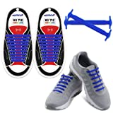 HOMAR Reflective No Lock No Tie Shoelaces High Performance - Best in No Tie Shoelace Replacement Accessories - Athletic Flat Shoe Laces - Blue