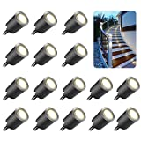 Recessed LED Deck Light Kits with Black Protecting Shell f32mm, SMY LED In Ground Outdoor Landscape Lighting IP67 Waterproof,12V Low Voltage for Garden,Yard Steps,Stair,Patio,Floor,Kitchen Decoration (Color: Natural White 4500k, Tamaño: 16pcs/pack)