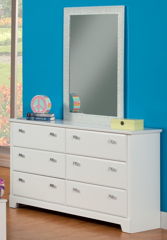Sandberg Furniture Hailey Dresser with Mirror, White