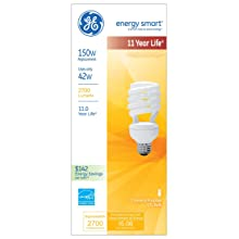 GE Lighting 47452 Energy Smart Spiral CFL 42-Watt (150-watt replacement) 2700-Lumen Spiral Light Bulb with Medium Base, 1-Pack