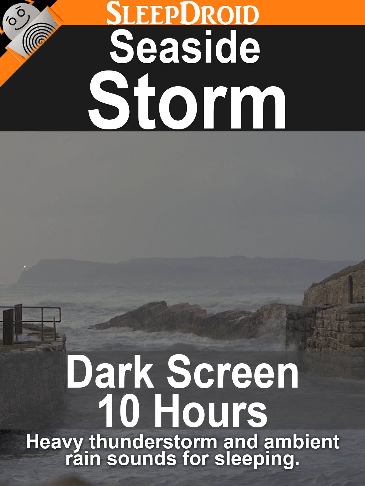 Seaside storm: Dark Screen 10 Hours Heavy Thunderstorm and Ambient Rain Sounds for Sleeping