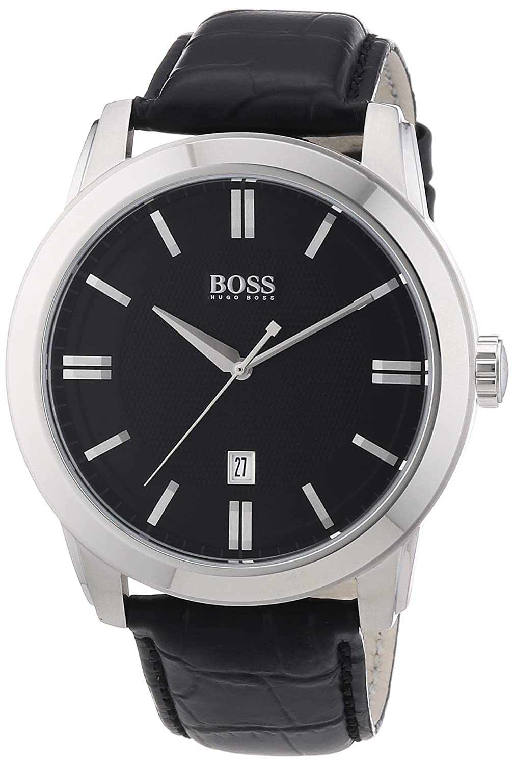 Hugo Boss Black Dial Black Leather Mens Watch 1512767 boss orange толстовка