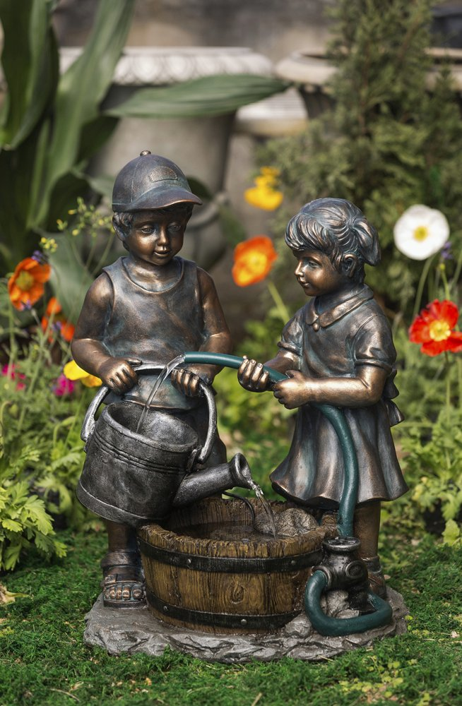 26u2033 Cast Resin Young Boy And Girl Kids Outdoor Patio Garden Water Fountain