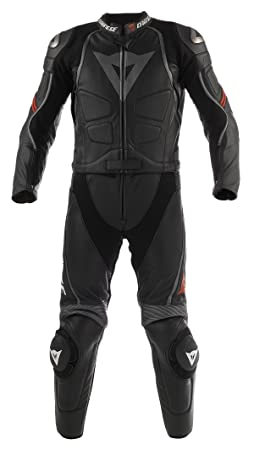 Dainese 1513297 Laguna Seca Div New Combinaison de moto séparable en cuir, Noir, Taille 52