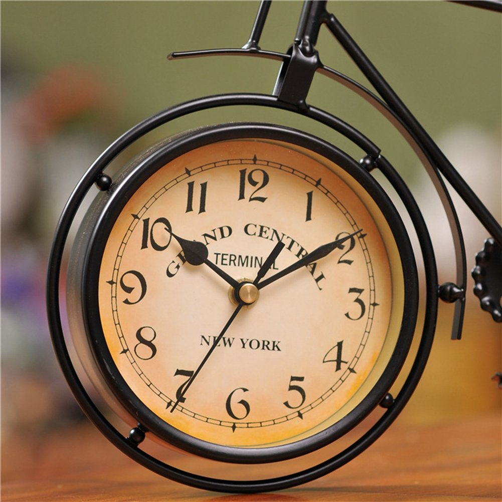 NEOTEND Handmade Vintage Bicycle Clock Bike Mute Black Table Clock Black Color 3
