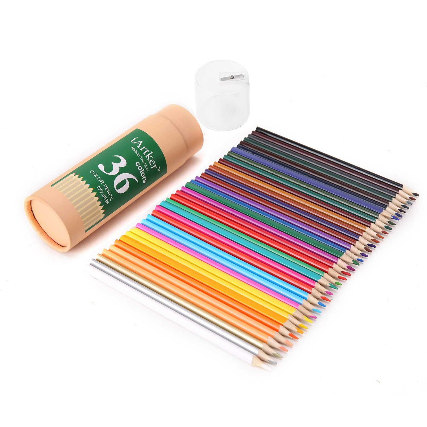 iArtker Long Triangular Drawing Pencils/Colored Pencils Set of 36 Assorted in Vase Tubular Package with a Lid Contains a High Quality Sharpener