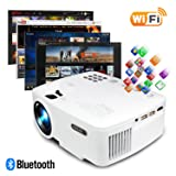 ERISAN Projector Video Home TV Theater, LED Android 6.0 WiFi Bluetooth, 220 ANSI Lumen, Support 1080P Full HD, 2018 Updated Hi-Fi Speaker, Quieter Fan, Mini Smart Video Beam, Multimedia Party Game (Color: Android Projector with wifi Bluetooth)