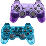 Saloke 2 Packs Wireless Gaming Console for Ps2 Double Shock (ClearBlue and ClearPurple) (Color: ClearBlue and ClearPurple)