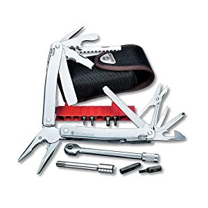 Victroinox Swiss Army SwissTool Spirit Plus Ratchet Multi-Tool, Includes Leather Pouch (Color: Stainless Steel, Tamaño: 105mm)