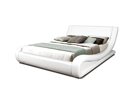 Modern Italian Designer Double Bed Upholstered in Faux Leather, 4 ft 6, White