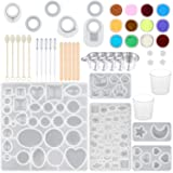 SUBANG 15 Pack Jewelry Casting Molds Silicone Resin Jewelry Molds with 5 Wooden Stick, 5 Plastic Spoons, 5 Plastic Droppers, 4 Cups and 1 Glitter Powder Sequins (Color: SET A)