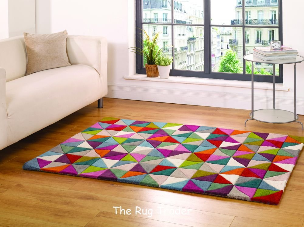 Illusion Geometry Multi Coloured Wool Rug in 3 Sizes (120cm x 170cm)       reviews and more news