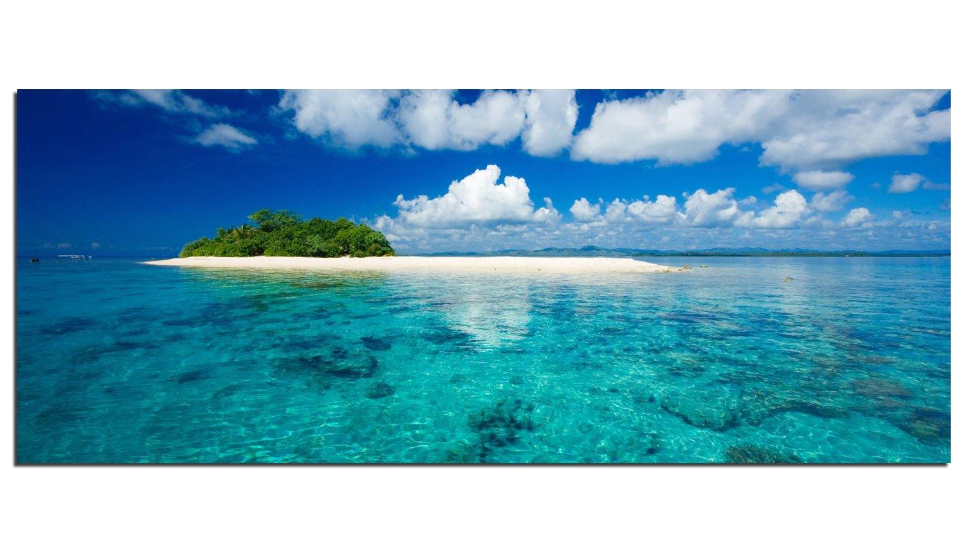 Dsign24 EG312500394 HD EchtGlas Bild, Trauminsel Im Meer, Wandbild Druck auf Glas, XXL, 125 x 50 cm   Kundenbewertung und weitere Informationen