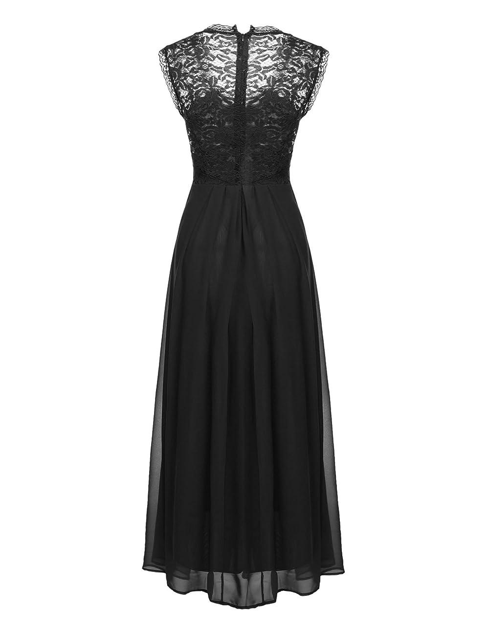 ANGVNS Women's Casual Deep- V Neck Sleeveless Vintage Maxi Dress 4