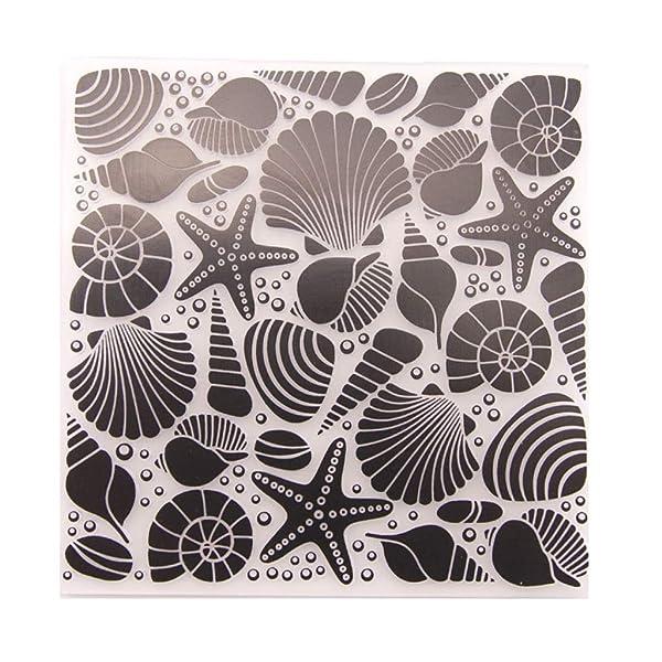Shoresu Embossing Folder, Plastic Embossing Folder Stencils Template Molds DIY Scrapbooking Paper Photo Album Card Decoration Starfish (Tamaño: 12.6x12.6cm/4.96x4.96in)