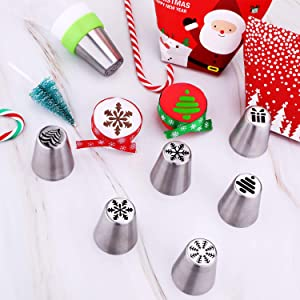 Gejoy 16 Pieces Russian Piping Tips Christmas Cake Icing Frosting Nozzle with Coupler for Cupcake Decoration, Christmas Design