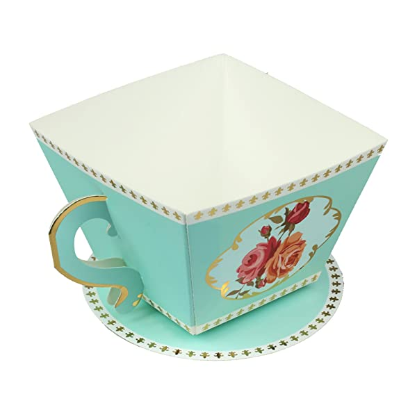 Vlovelife 12pcs Blue Cup Shape Party Favor Boxes Ribbon Tea Theme Decorations Candy Boxes Tea Time Whimsy Collection Creative Paper Candies Gift Boxes (Color: Blue Cup, Tamaño: 3.4'' x 3.4'' x 2.4'')