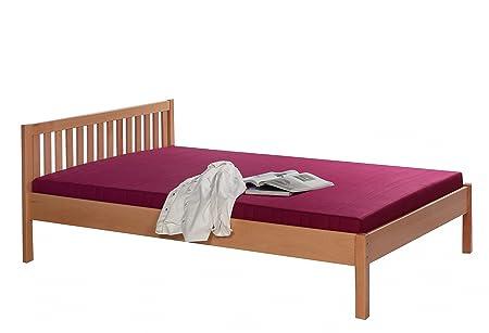 Marco de la cama de tamaño de 90 x 200 cm Unira de madera de haya de madera maciza de colour blanco lacado