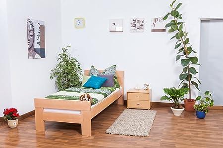 "Bett ""Easy Sleep"" K2, Buche Vollholz massiv Natur - Maße: 90 x 200 cm"