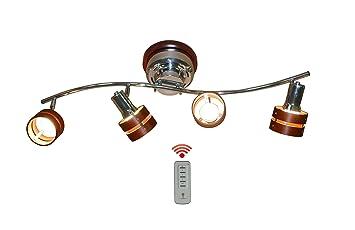 【クリックでお店のこの商品のページへ】『Xituya』 Sシェイプ シーリングライト リモコン対応 壁電源で簡単切り替え ウッドサークル4灯 2環ウッドシェード (E26LED電球&蛍光灯対応) (クローム×ダークブラウン) 【工場直販店】: ホーム&キッチン