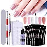 CoulorButtons 6Pcs UR SUGAR Quick Building Poly Builder UV Gels With Solution Liquid Finger Extension Nail Art Tools Set (Color: 30ml Set)