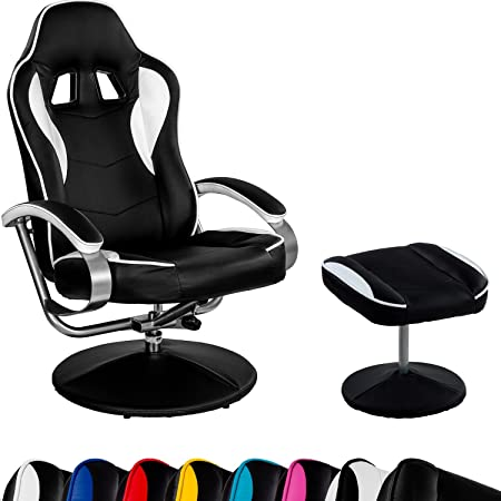 "Racing TV Sessel ""GT Relax Racer"" mit Fußhocker, 8 Farbvarianten, 360 Grad drehbar, verstellbare Ruckenlehne"