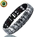 Double Strength Titanium Magnetic Therapy Bracelet Dual Row 4 Bio Elements Energy Balance for Mens Arthritis Relief Pain Carpal Tunnel + Hematite Pendant Necklace (Color: Gun Metal, Tamaño: Adjustable Bracelet)