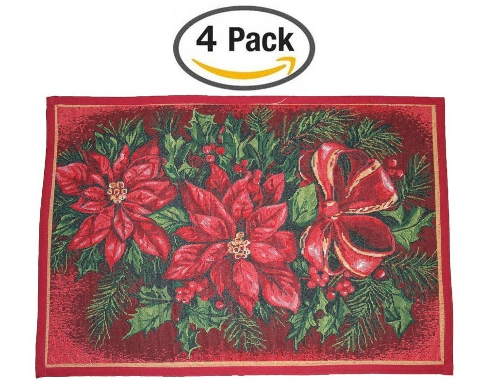 Poinsettia Table Placemats Christmas Wikii