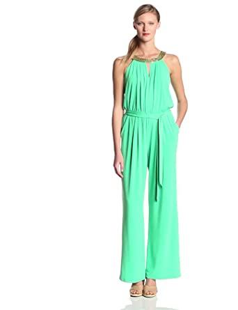 Vince Camuto Women's Jumpsuit with Keyhole and Neckline Beading, Blarney, X-Small