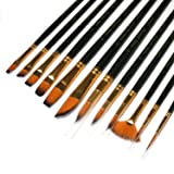 12 Pcs Artist Paint Brushes Set with Synthetic Sable Hair for Acrylic Oil Watercolor Fine Art Painting, Full Range of Sizes & Shapes Kit