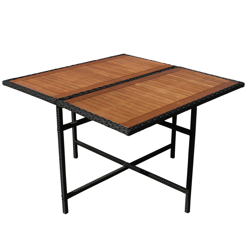 indoba® IND-70076-TI - Serie Faro - Gartentisch aus Eukalyptus Holz und Polyrattan - quadratisch