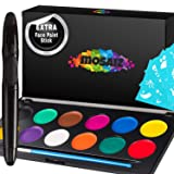 Non-Grease Face Paint Kit for Kids and Adults - 12 Colors Face Painting Palette Bonus 30 Stencils, Brush and Pen - Birthday Gift for Girls, Halloween Makeup Body Paint, Facepaint Party Supplies (Color: Black)