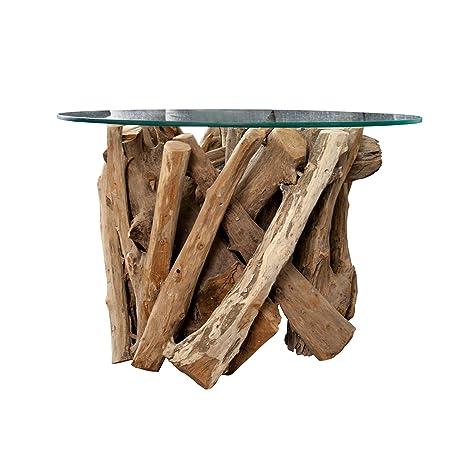 Design Couchtisch NATURE LOUNGE Teakholz mit runder Glasplatte Beistelltisch Tisch Holztisch Glasplatte