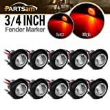 Partsam 10x Truck Trailer Boat 3/4 Clear/Red Round Bullet Button Led Marker Clearance Light+ Grommet 3LED High Low Brightness Aux Stop Turn Tail Brake Lights 3 Wires